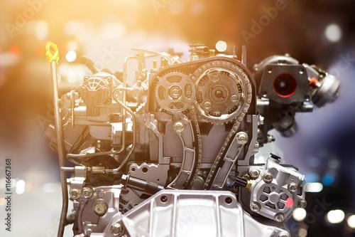 Cut metal car engine part, colorful concept Poster
