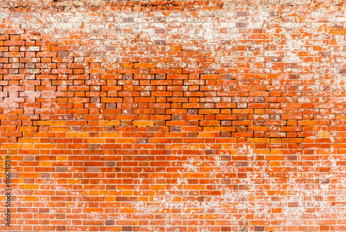 Dirty red brick wall background, under construction concept.