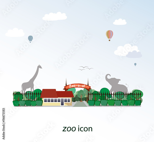 Plexiglas Zoo The icon of zoo. Behind the trees you could see the elephant and giraffe silhouettes