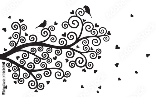 Naklejka Vector illustration of curl, abstract, stylized Valentine tree branch with hearts in black colour on white background.