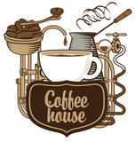 banner for coffee house with a cup and coffee machine in retro - 116687373