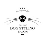 Fototapety Logo for dog hair salon, dog styling and grooming shop, store for pets. Vector illustration