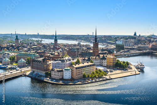 Poster view of the Old Town or Gamla Stan in Stockholm, Sweden