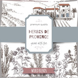 Herbes label with cottage, lavender, oregano, rosemary, thyme, basil. - 116715572