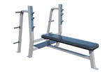 fitness equipment on white wooden plank floor
