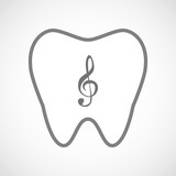 Isolated line art tooth icon with a g clef