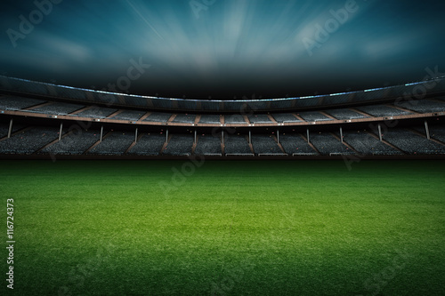 stadium with soccer field Poster