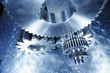 cogwheels and gears against titanium, aerospace engineering.