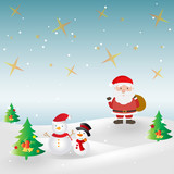 Merry Christmas and Happy New Year card.Santa Claus,cartoon vector design background
