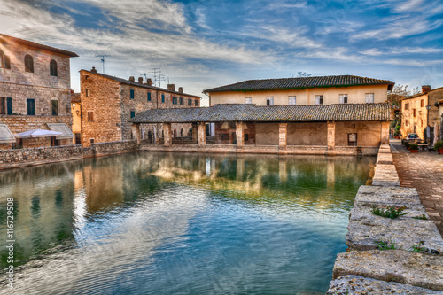 Bagno Vignoni, Siena, Tuscany, Italy: ancient thermal baths in the town square