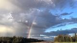 triple rainbow from highway, Alberta Canada