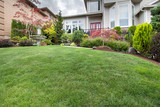 Green Grass Lawn in Manicured Frontyard Garden