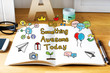 Do Something Awesome Today concept with notebook