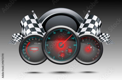 Fototapeta Speedometer and checkered flags