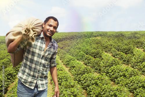Plakat Brazilian coffee farmer at coffee plantation