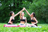 Team of happy fitness woman outdoors.
