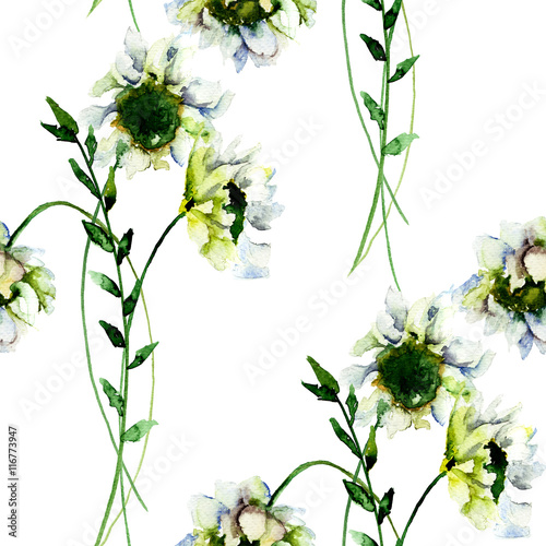 Seamless wallpaper with White Gerber flowers © Regina Jersova