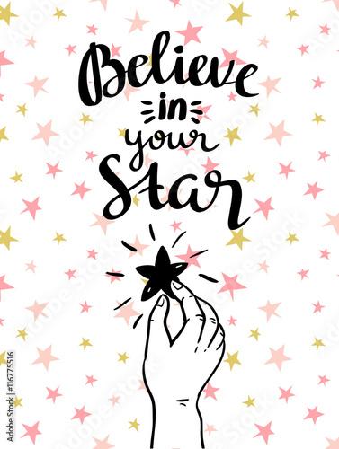 quot-uwierz-w-swoja-gwiazde-quot-recznie-inspirujacy-plakat-ilustracja-wektorowa-ze-stylowym-napisem
