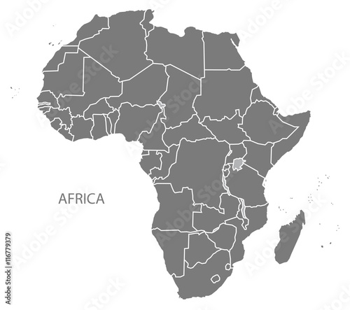 Fototapeta Africa Map with countries grey