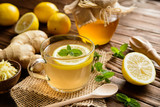 Ginger root tea with lemon, honey and mint - 116779948