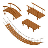Fototapety Hanging wooden bridge, wooden and hanging bridge vector illustrations. Flat 3d isometric set.