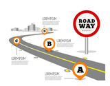 Fototapety Road way design infographics.