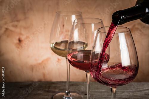 Fototapeta Selection of wine for tasting