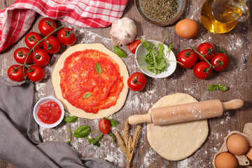 pizza dough and ingredient