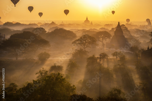 Poster beautiful silhouette landscape view of sunrise morning and hot a