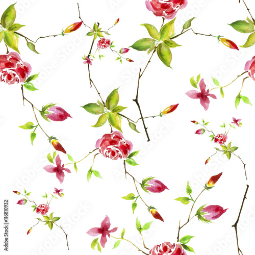 Panel Szklany Vintage watercolor pattern - flowers, roses branch with buds, leaves. Seamless background.