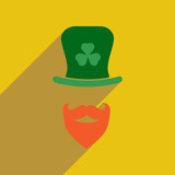 Flat web icon with long shadow Irish hat beard