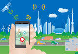 Fototapety smart city and smart phone application using location information, hand hold smart phone, vector illustration