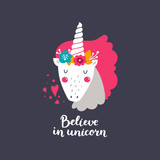 Vector baby unicorn. Kids illustration for design prints, cards and birthday invitations. Girl cards with cute unicorn, flowers and hand drawn lettering. Believe in unicorn