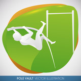 Athlete Doing a Long Jump in Pole Vault Event, Vector Illustration