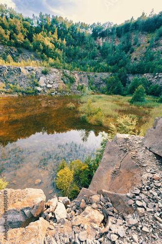 abandoned flooded quarry, Czech republic