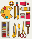 Fototapety Colored flat design vector illustration icons set