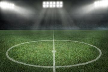 Fußballstadion mit Mittelkreis