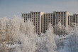 Urban landscape with trees covered with hoarfrost and multi-stor