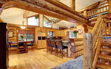 Log cabin house interior of dining and kitchen room - 116857992