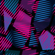 Abstract seamless chaotic pattern with urban geometric elements. Grunge neon texture background. Wallpaper for boys and girls - 116859306