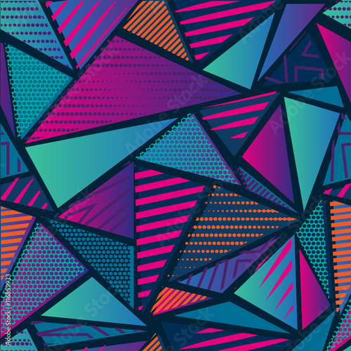 Abstract seamless chaotic pattern with urban geometric elements. Grunge neon texture background. Wallpaper for boys and girls - 116859933