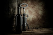 wine bottle and barrel with corkscrew
