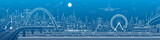 Industrial and transport panorama, urban skyline, white lines landscape, night city, airplane fly, train on the bridge, vector design art