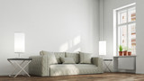 Couch und andere Möbel im Wohnzimmer