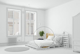 Schlafzimmer in weiß mit Palettenbett