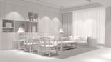 Wohnzimmer im Loft ganz in weiß