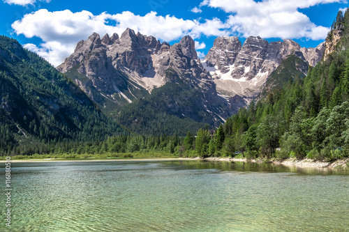 Mountain peak with lake view in the summer