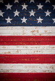 United States flag painted on wooden planks forming a background - 116884123