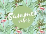 Summer vibes - Typographie auf exotisch stylishem Hintergrund