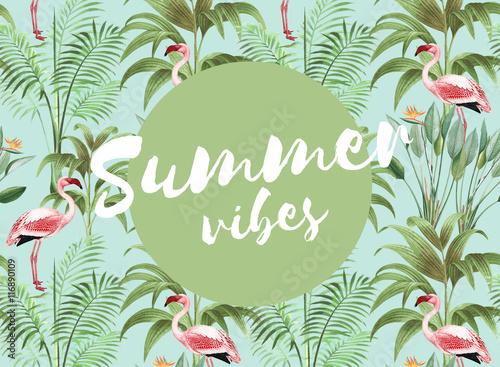 Foto op Aluminium Positive Typography Summer vibes - Typographie auf exotisch stylishem Hintergrund